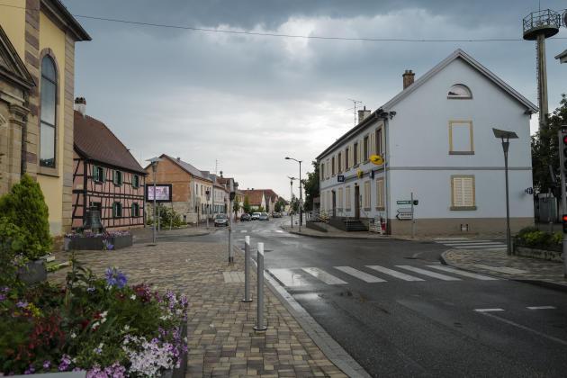 Vue du centre du village de Fessenheim, en juin 2020.