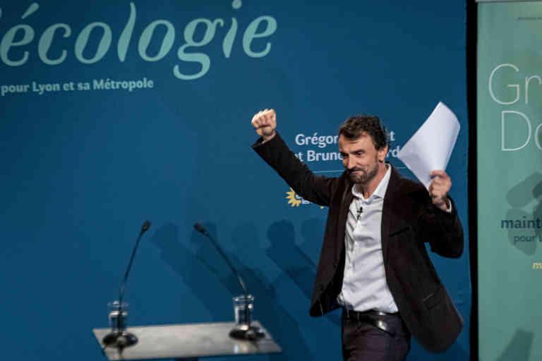 Lyon le 28 juin 2020. Conférence de persse de Gregory Doucet, candidat EELV aux élections municipales pour la ville de Lyon après sa victoire.