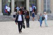 Des membres de la convention citoyenne sur le climat après leur rencontre avec Emmanuel Macron, à l'Elysée à Paris, le 29 juin.