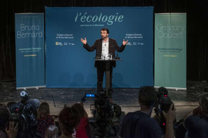 Conférence de presse de Gregory Doucet, candidat EELV aux élections municipales pour la ville de Lyon, après sa victoire,le 28 juin 2020.