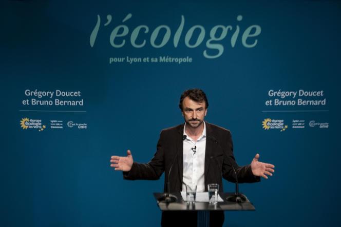 Grégory Doucet, candidat écologiste et victorieux à la mairie de Lyon, le 28 juin.