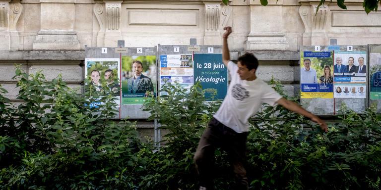 Deuxième tour des élections municipales et métropolitaines à Lyon le 28 juin 2020. Bureau de vote de la Bourse dans le 2e arrondissement.