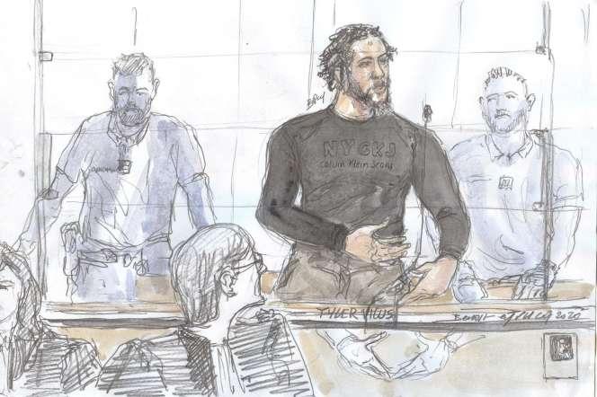 Tyler Vilus face à la cour d'assises spécialement composée de Paris, le 25 juin.