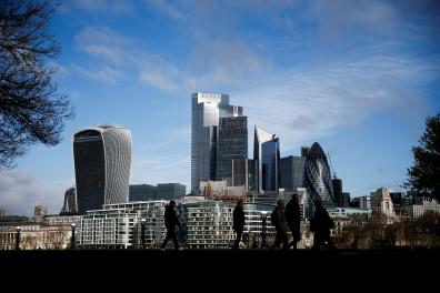 FILE PHOTO: The City of London financial district can be seen in London, Britain, March 9 2020. REUTERS/Henry Nicholls/File Photo GLOBAL BUSINESS WEEK AHEAD