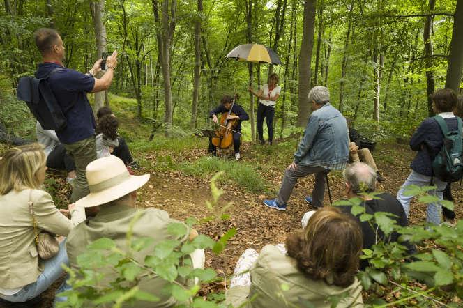 «Bain de forêt musical» avec le violoncelliste Christian-Pierre La Marca, au Festival des forêts, à Compiègne (Oise), le 27 juin.