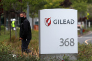 A l'entrée du siège de Gilead, à Foster City, en Californie, le 29 avril.