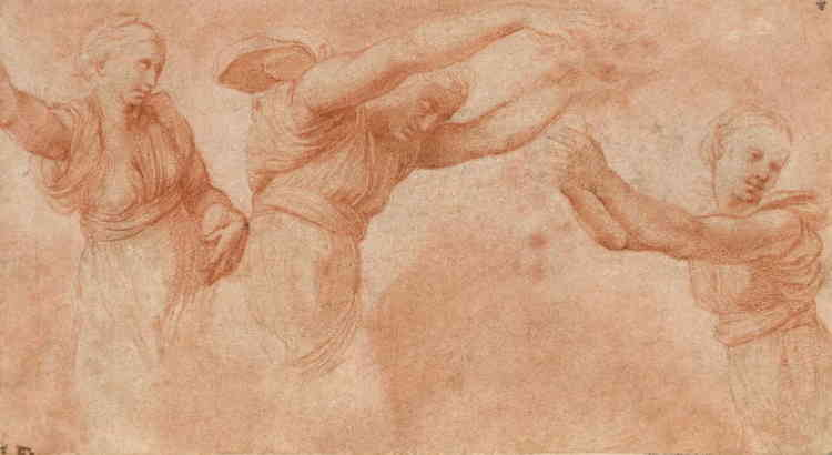 """«Agostino Chigi fut, avec le pape, le plus grand mécène de Raphaël à Rome. Celui-ci fut chargé de la décoration à fresque de sa villa périurbaine, la Farnesina. Le décor à fresque de la loggia (1516-1518) était consacré au mythe de Psyché d'après le texte d'Apulée. Au centre du plafond, """"Le Banquet des dieux"""" présente le repas des noces d'Amour et de Psyché. Cette étude concerne les trois personnages des Heures jetant des fleurs sur les convives. Raphaël, surchargé de travail, déléguait de plus en plus la réalisation de ses commandes: on hésite à lui donner cette feuille, qui présente quelques maladresses qui peuvent s'expliquer par l'accent mis sur le travail des drapés.»"""