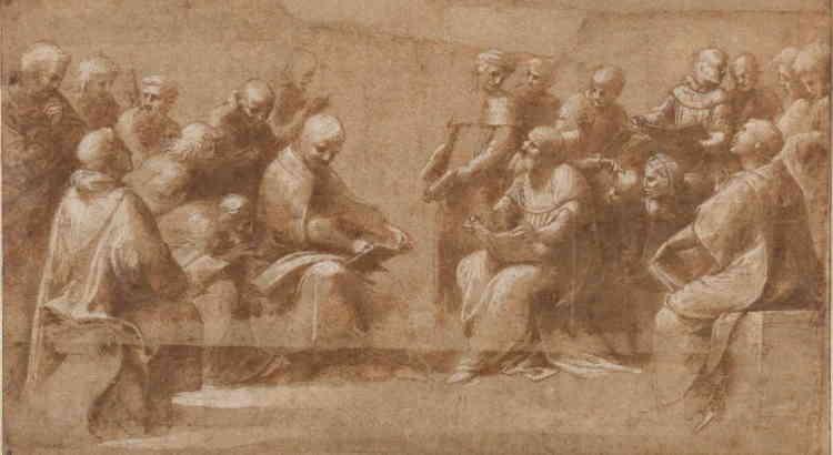 """« Ce dessin, le plus célèbre de Raphaël à Chantilly, est préparatoire à l'une des premières commandes romaines de Raphaël (vers 1509), une fresque ornant la chambre de la Signature, destinée à servir de bibliothèque privée et de studiolo au pape Jules II. C'est la composition la plus complexe sur laquelle l'artiste eût jamais travaillée. Le travail de la lumière et l'animation des pères de l'Eglise et des clercs constituent un hommage à Léonard de Vinci (et son """"Adoration des mages"""").»"""