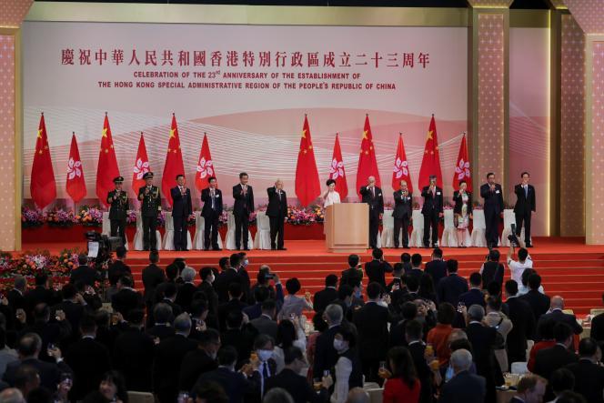 Le chef de l'exécutif deHongkong, Carrie Lam, célébrant l'anniversaire de la passation de l'ancienne colonie britannique à laChine, le 1er juillet.
