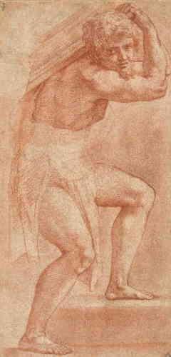 """«La chambre dite de l'""""Incendie du bourg"""", au Vatican, fut ornée d'une fresque sur le thème du couronnement de Charlemagne (présentant les traits du roi de France François Ier) par Léon III (semblable au pape Léon X, le commanditaire de ce décor). Au premier plan à gauche se trouve le porteur d'une table précieuse. Il regarde le spectateur et l'entraîne, par son corps ployant vers la droite sous le poids de sa charge, vers le cœur de l'action. Sa monumentalité, sa précision anatomique, les raccourcis employés et le traitement de la lumière attestent du talent sans pareil du Raphaël dessinateur.»"""