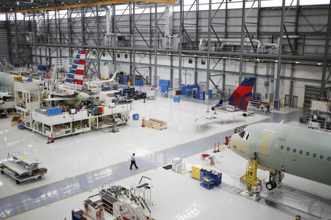 Des avions Airbus SE A321 dans l'usine de Mobile, dans l'Alabama (Etats-Unis), en juillet 2017.