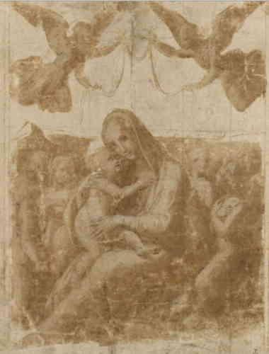 «Malgré son usure, ce dessin fait preuve d'une remarquable maîtrise dans le traitement de l'ombre et de la lumière, grâce à sa technique de lavis. Il est préparatoire à un tableau perdu dédié à la Vierge d'humilité, assise sur le sol même. C'est à la fin de la période florentine de Raphaël que doit être placée son exécution. »