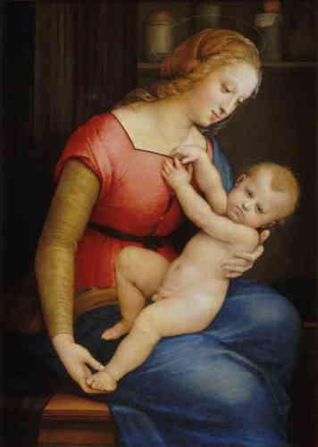 «Peint autour de 1506-1507 par Raphaël, au cours de sa période florentine, ce tableau étonne par sa superbe modestie. Dans un intérieur assez humble, la Vierge tient tendrement son Fils qui nous adresse un regard d'une grande gravité: lui et le spectateur connaissent son destin, sa future Passion.»
