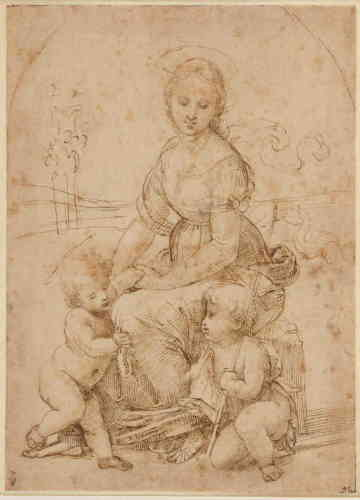 """«Ce dessin présente quelques différences avec le tableau qu'il prépare, la """"Belle Jardinière"""" du Louvre (vers 1507-1508). On y retrouve néanmoins le même calibrage des formes, l'harmonie du groupe pyramidal, la monumentalité de la Vierge, le sentiment de l'espace autour des trois personnages et l'émotion de la scène représentée. Cette perfection est l'aboutissement d'un long travail sur les Vierges à l'Enfant effectué par Raphaël durant sa période florentine.»"""