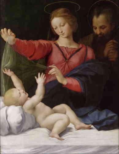 «L'une des œuvres les plus fameuses de Raphaël conservées à Chantilly était considérée comme une copie au XIXesiècle et n'a été authentifiée comme un original du maître qu'à la fin des années 1970! Dans un magnifique geste maternel, à la fois grave et résigné, la Vierge enveloppe de son voile transparent le sculptural Enfant Jésus, plein de vie, qui semble néanmoins accepter cette préfiguration de son linceul, voire vouloir jouer avec lui.»