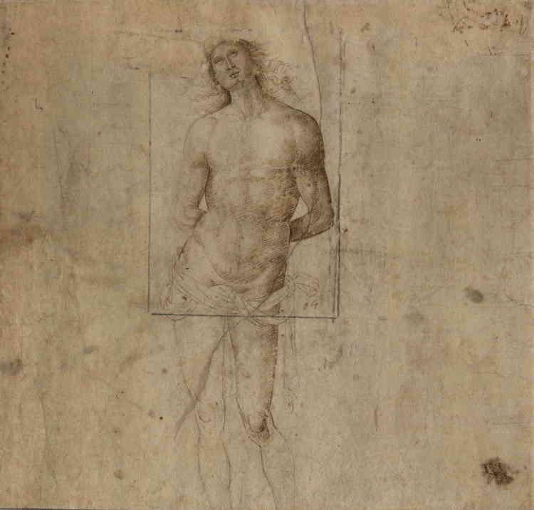 """«Présentant un sublime """"contrapposto"""" [le poids du corps repose sur une jambe], saint Sébastien, doté d'une musculature avantageuse, implore le ciel. Ce thème figurait parmi les favoris du Pérugin, mentor de Raphaël. C'est ici unecopie d'après l'un de ses dessins, tracée par l'un de ses élèves ou collaborateurs. Le jeune Raphaël put pratiquer ce genre de copie lorsqu'il fréquenta l'atelier du Pérugin.»"""