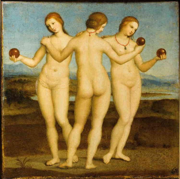 """«""""Les Trois Grâces"""" figurent parmi les premières œuvres profanes que Raphaël a peintes. Nous sommes au tournant du XVIesiècle (vers 1503-1504) et le jeune artiste baignait alors dans l'univers courtois de mécènes lettrés qui lui commandaient de petits tableaux mythologiques inspirés de textes antiques. A l'origine, une seule des Grâces, celle de gauche, tenait une pomme d'or. C'est sans doute dans un souci d'équilibre, pour parvenir à la parfaite harmonie finale, que Raphaël opta pour les trois fruits.»"""