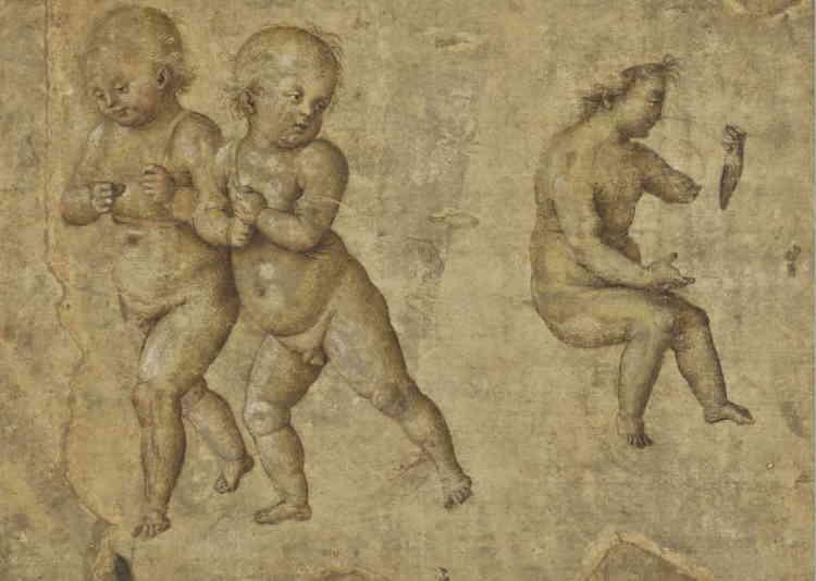 «Artiste prisé à Rome, où il collabora au chantier de la chapelle Sixtine aux côtés du Pérugin, Pinturicchio développa un style orné et une verve narrative. C'est justement à cette période romaine que peut se rattacher cette feuille montrant des enfants semblant tenir les rênes d'un char – ici absent – sur lequel serait assis l'un d'eux. Le type de ces enfants dodus inspira Raphaël, côtoya l'artiste lors de la réalisation des fresques de la Libreria Piccolomini, dans la cathédrale de Sienne. »