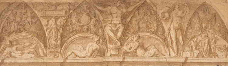 «Perino del Vaga s'établit à Gênes, où il décora de fresques le palais de l'amiral Andrea Doria, auquel est lié ce dessin. Il y développa un art puissant et gracieux, teinté d'Antiquité, au service de la glorification de son puissant mécène. A son retour à Rome, il se vit confier par le pape Paul III Farnèse le décor du château Saint-Ange. S'y déploya un répertoire ornemental inspiré par les décors de la Domus Aurea de Néron et appelé «grotesques» (car on les découvrit dans des ruines enterrées, ou grottes).»