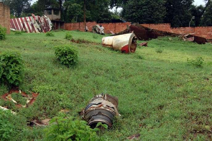 Les restes de l'avion du président rwandais Juvénal Habyarimana, abattu le 6 avril 1994 à Kigali.