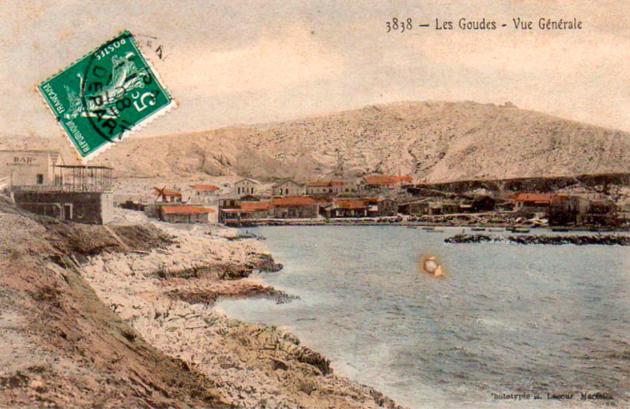 Carte postale des Goudes en 1908.