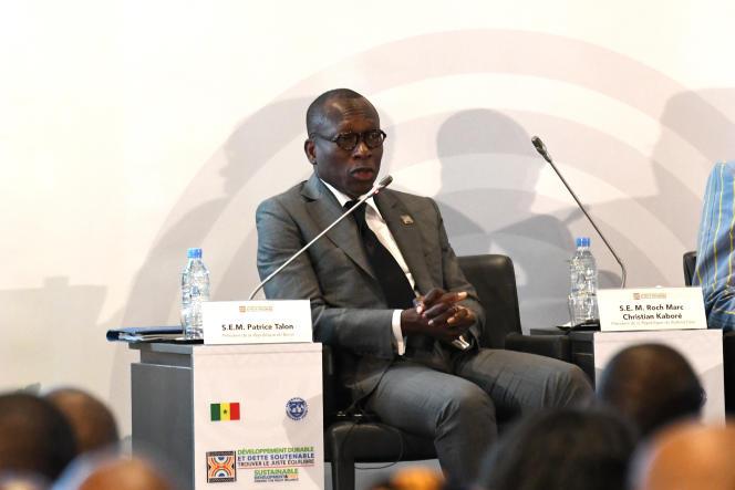 Le président du Bénin, Patrice Talon, lors d'une conférence organisée par le Fonds monétaire international à Diamniadio, au Sénégal, le 2décembre 2019.