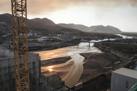 (FILES) In this file photo taken on December 26, 2019 A general view of the Blue Nile river as it passes through the Grand Ethiopian Renaissance Dam (GERD), near Guba in Ethiopia. - The United Nations Security Council plans to meet on June 29, 2020 to discuss Egypt and Sudan's objections to Ethiopia's construction of a mega-dam on the Nile River, diplomatic sources said on June 25, 2020. The public video conference was called by the United States on behalf of Egypt, according to the sources. Ethiopia wants to start filling the reservoir for the 475-foot (145-meter) Grand Ethiopian Renaissance Dam in July, with or without approval from the two other countries. (Photo by EDUARDO SOTERAS / AFP)