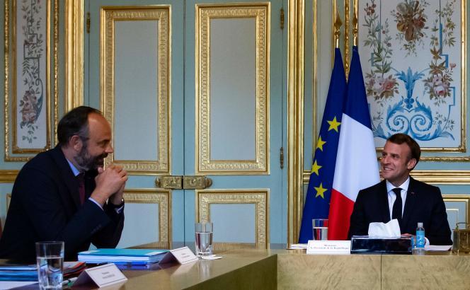 Edouard Philippe et Emmanuel Macron,à l'Elysée, le 2 juillet .