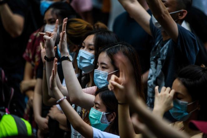 Manifestation contre la loi sur la sécurité nationale imposée par Pékin, à Hongkong, le 1er juillet.