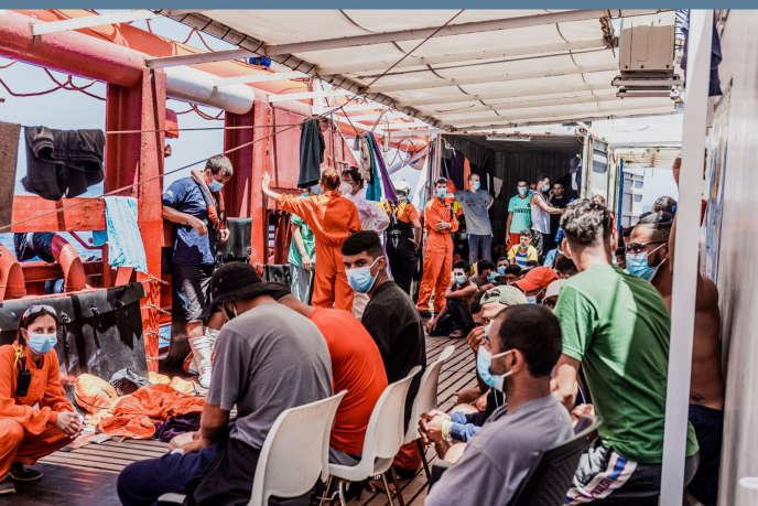 A bord du navire humanitaire de l'ONG SOS Méditerranée, l'«Ocean-Viking», le 3 juillet.