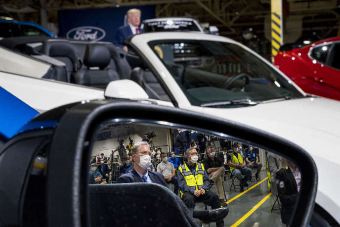 Visite de Donald Trump dans une usine automobile Ford, à Ypsilanti (Michigan), le 21 mai 2020.