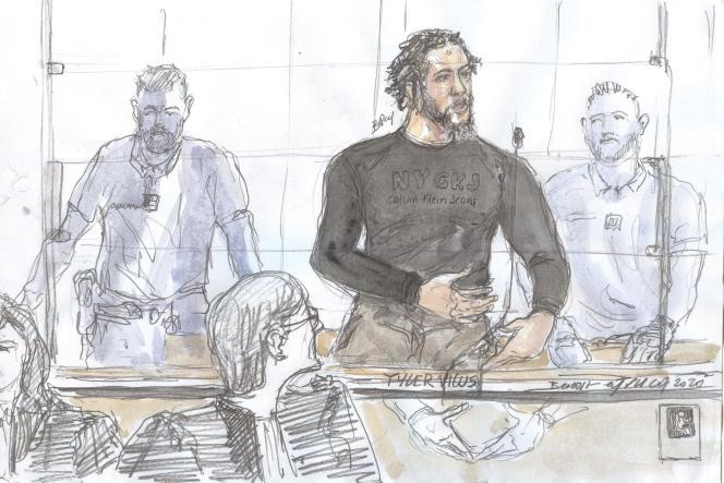 Tyler Vilus, le 25 juin 2020, devant la cour d'assises spécialement composée de Paris.