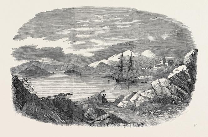 Fiskernoes, une colonie danoise au Groenland. Gravure du XIXe siècle.