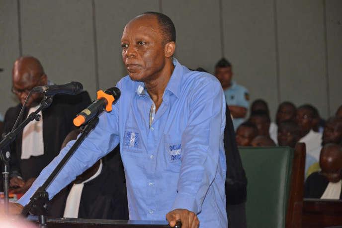 L'opposant congolais Jean-Marie Michel Mokoko lors de son procès à Brazzaville, le 11mai 2018.