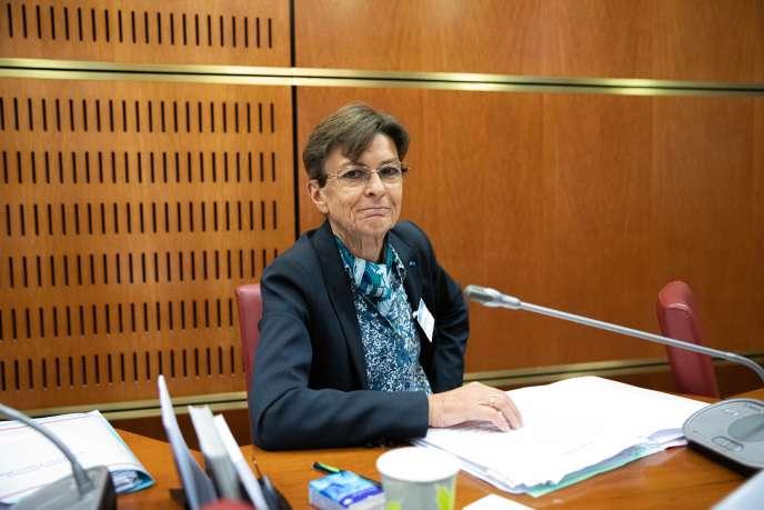La procureure générale de Paris, Catherine Champrenault, lors de son audition par la commission d'enquête parlementaire sur «les obstacles à l'indépendance de la justice», à Paris,le 2 juillet.