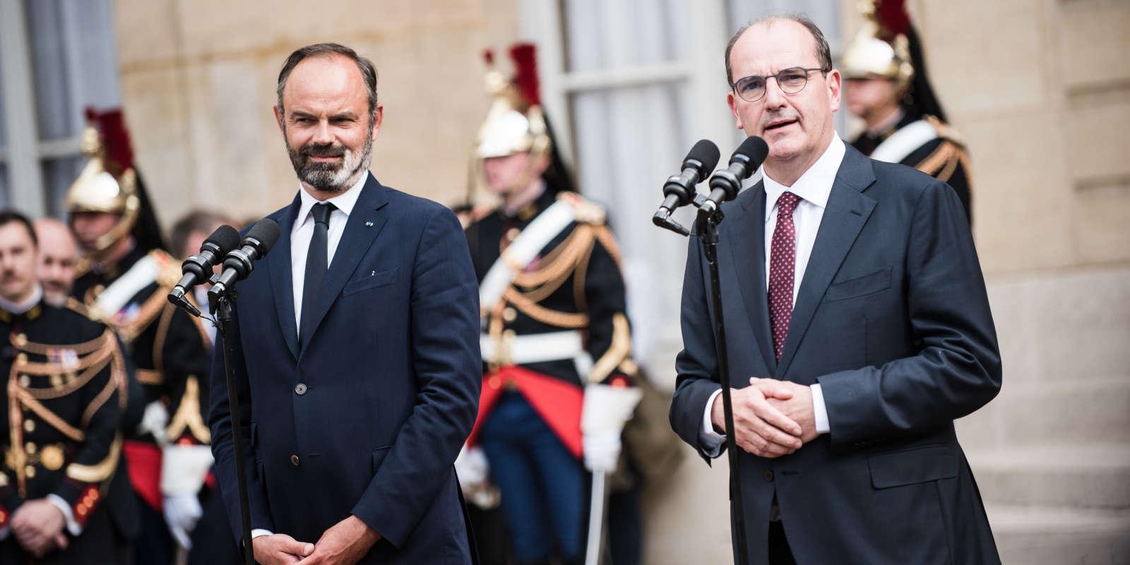 Passation de pouvoirs a Matignon. Le nouveau Premier ministre Jean Castex prend la parole a la suite du premier ministre sortant Edouard Philippe.