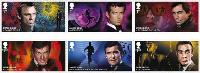 Les acteurs ayant incarné James Bond. Timbres de Grande-Bretagne (2020).