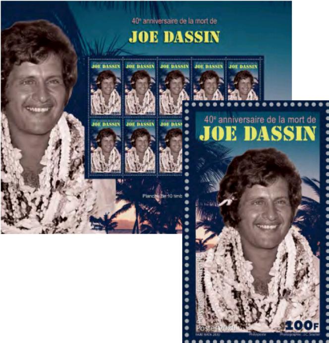 Joe dassin, timbré par la Polynésie française. Timbre dessiné par J.-C. Soulier, en vente à partir du 20 août.
