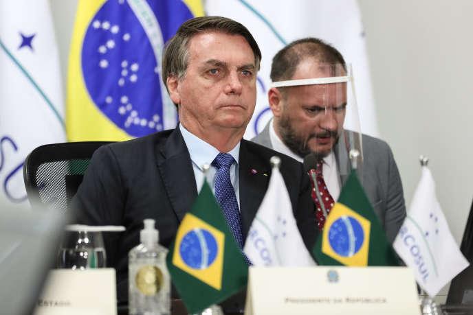 Le président brésilien, Jair Bolsonaro, le 2 juillet à Brasilia lors d'un sommet du Mercosur organisé par visioconférence.