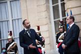 Passation de pouvoirs a Matignon. Le Premier ministre sortant Edouard Philippe prend la parole en presence du nouveau Premier ministre Jean Castex.