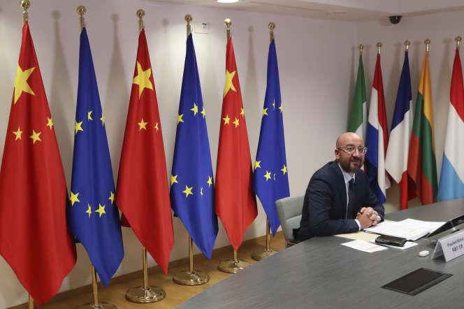 Le président du Conseil européen, Charles Michel, avant sa visioconférence avec le président chinois Xi Jinping, à Bruxelles, le 22 juin.