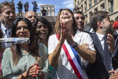 De gauche à droite. Samia Ghali, Michèle Rubirola, et benoit Payan. Victoire de Michèle Rubirola, du Printemps Marseillais. Elections municipales à Marseille, le 4 juin 2020