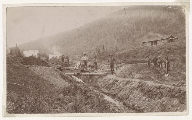 Un camp de chercheurs d'or en Californie, vers 1850.