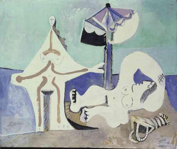 """«A presque quatre-vingts ans, Picasso est habité parce désir de recréer le langage de lapeinture de A à Z. À la dernière page d'un carnet de dessins, il écrira: """"La peinture est plus forte que moi, elle me fait faire ce qu'elle veut."""" »"""
