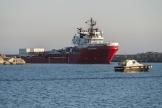 Le navire humanitaire «Ocean-Viking» arrive le 6 juillet dans le port d'Empedocle, enSicile.