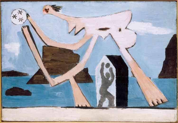 «La présence de Marie-Thérése Walter à Dinard au cours de l'été 1928 inspire à Picasso toute une série de tableautins sur le thème des baigneuses jouant au ballon ou ouvrant une cabine. Leurs disproportions anguleuses et leurs déformations extrêmes tendent à recréer les mouvements des jeux sur la plage.»