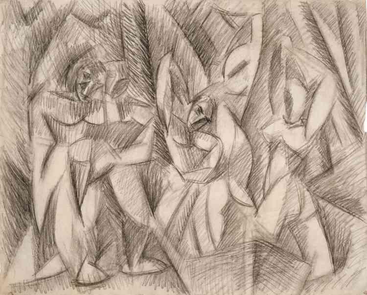 «Les premières baigneuses de Picasso surgissent au milieu des bois alors que l'artiste travaille à l'élaboration du cubisme, fruit d'une recherche sur la forme, le point de vue et l'espace.»