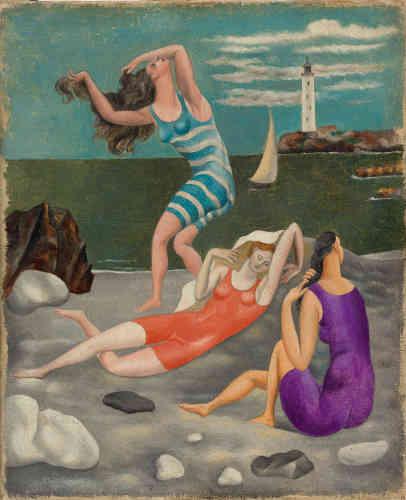 «Cette rêverie devant des baigneuses en costume de bain contemporain renvoie Picasso au Bain turc (1860) de Jean-Auguste-Dominique Ingres qu'il découvre au Salon d'automne de 1905– et dont il adoptera les distorsions du corps féminin.»