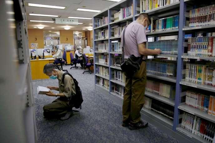 La bibliothèque centrale de Hongkong, après le retrait des ouvrages jugés subversifs, le 6 juillet 2020, selon la nouvelle loi sur la sécurité nationale.