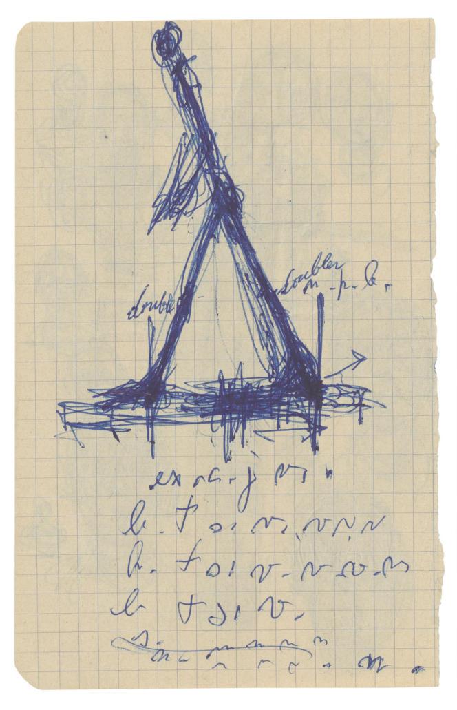 «Alberto Giacometti Homme qui marche»(1959 - 1965), stylo bille sur carnet.